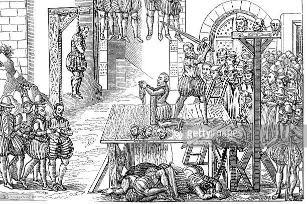 engraving medieval execution with sword - execution stock illustrations