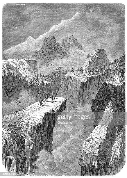 engraving mountaineers ascending mont blanc - mont blanc stock illustrations, clip art, cartoons, & icons
