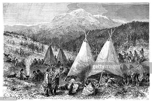 engraving native american encampment from 1870 - shoshone national forest stock illustrations, clip art, cartoons, & icons
