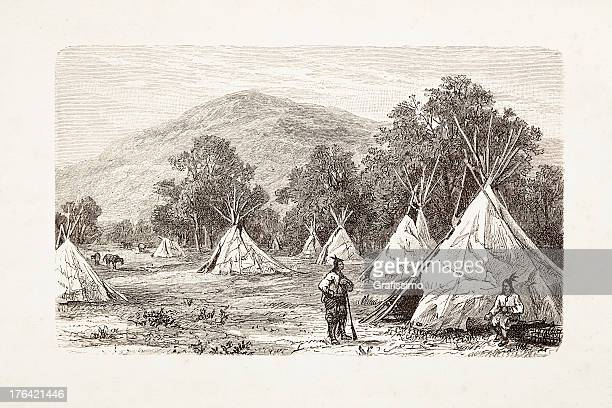 engraving native american encampment from 1881 - shoshone national forest stock illustrations, clip art, cartoons, & icons
