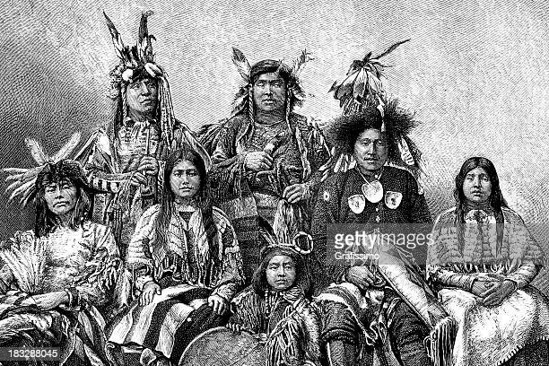 engraving native american group of people from 1870 - sioux culture stock illustrations