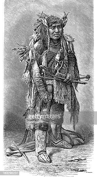 engraving native american tribal chief from warm springs - shoshone national forest stock illustrations, clip art, cartoons, & icons