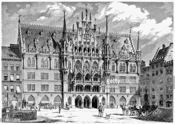 engraving new town hall with mary's square in munich - historical document stock illustrations, clip art, cartoons, & icons