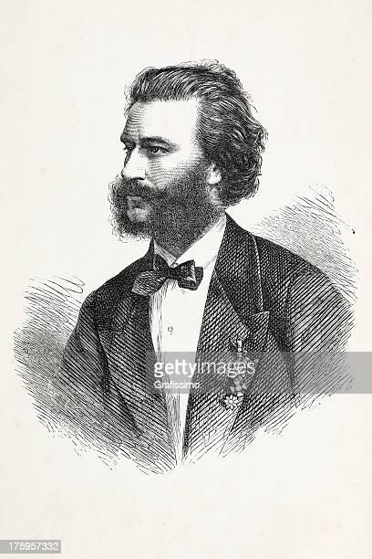 ilustraciones, imágenes clip art, dibujos animados e iconos de stock de grabado de austríaco compositor johann strauss de 1867 - bailar un vals