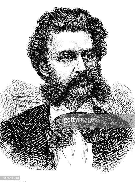 stockillustraties, clipart, cartoons en iconen met engraving of austrian composer johann strauss from 1870 - gewalt