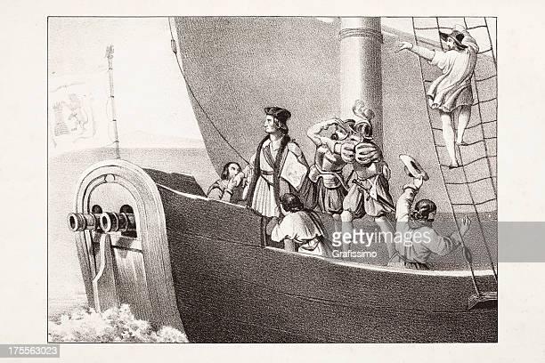 ilustraciones, imágenes clip art, dibujos animados e iconos de stock de grabado de cristóbal colón de 1842 - cristobal colon