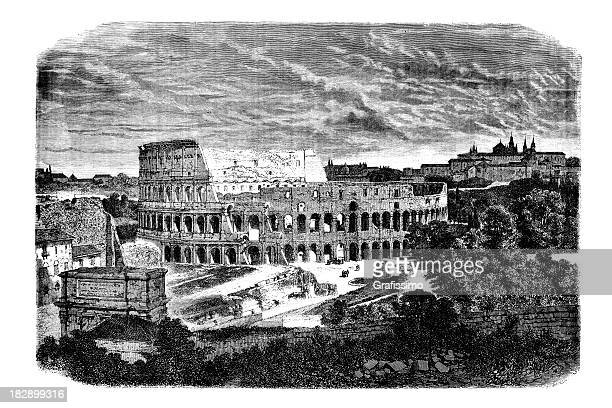 Engraving of Coliseum Rome Italy 1868
