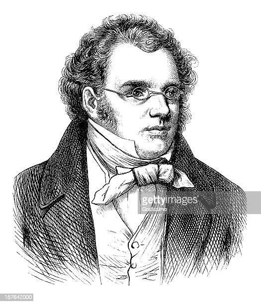 engraving of composer franz schubert from 1870 - fine art portrait stock illustrations