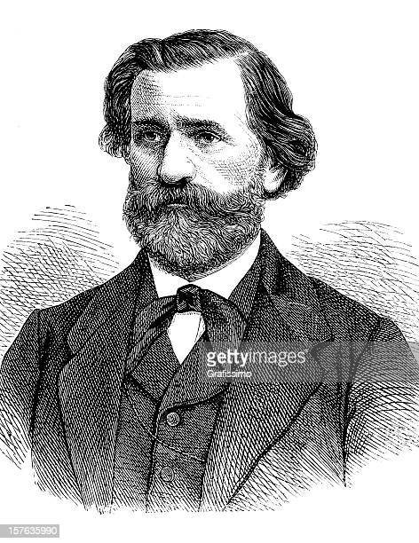 engraving of composer guiseppe verdi from 1870 - composer stock illustrations