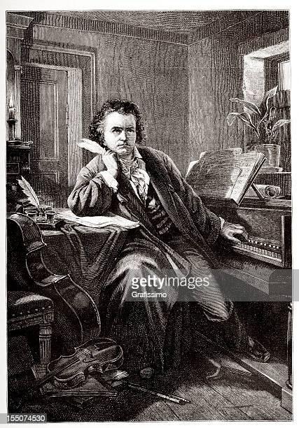 ilustraciones, imágenes clip art, dibujos animados e iconos de stock de grabado de compositor ludwig van beethoven en 1882 - ludwig van beethoven