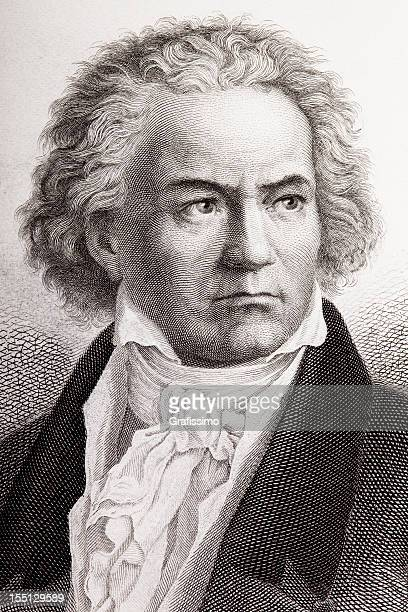 engraving of composer ludwig van beethoven from 1882 - fine art portrait stock illustrations