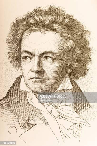 engraving of composer ludwig van beethoven from 1882 - ludwig van beethoven stock illustrations
