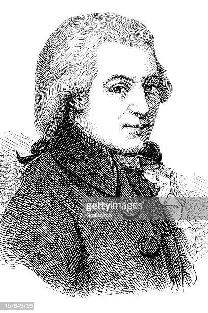 engraving of composer wolfgang amadeus mozart 1870 - classical stock illustrations
