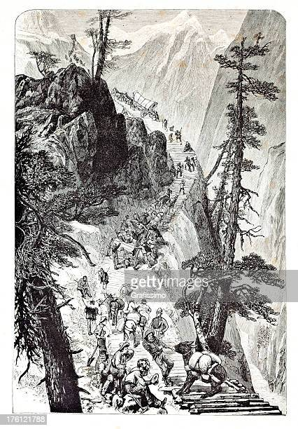 engraving of cowboys in the gold rush - california gold rush stock illustrations