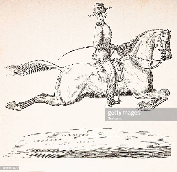 Engraving of dressage rider in uniform from 1870