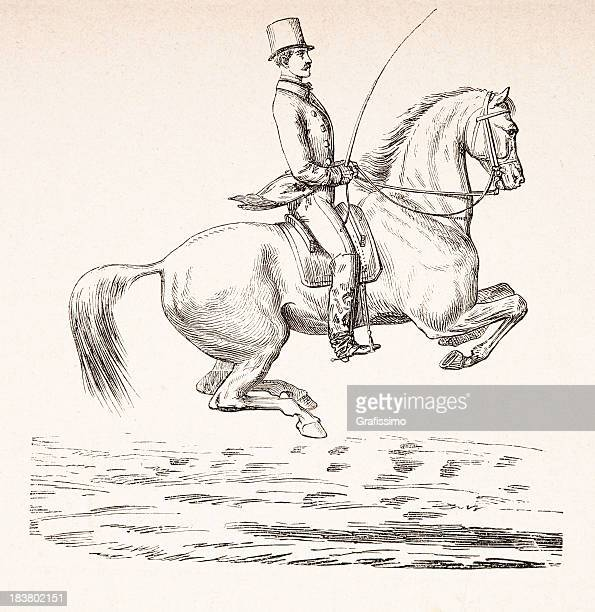 Engraving of dressage rider on horse from 1870