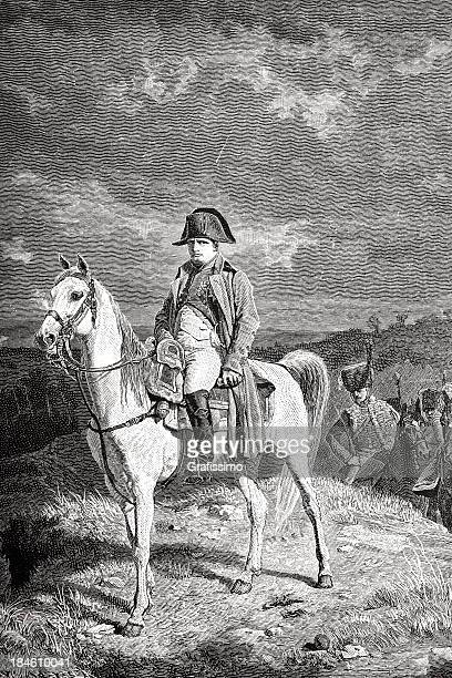 Gravação do Imperador Napolean Bonaparte dirigindo um cavalo de 1882