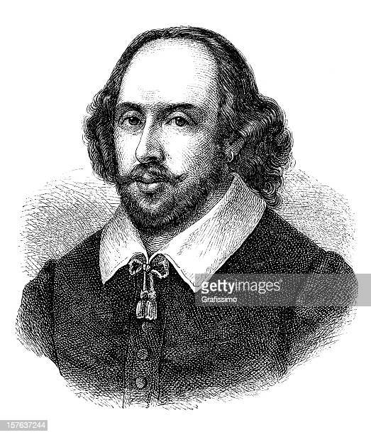 engraving of english poet william shakespeare from 1870 - actor stock illustrations