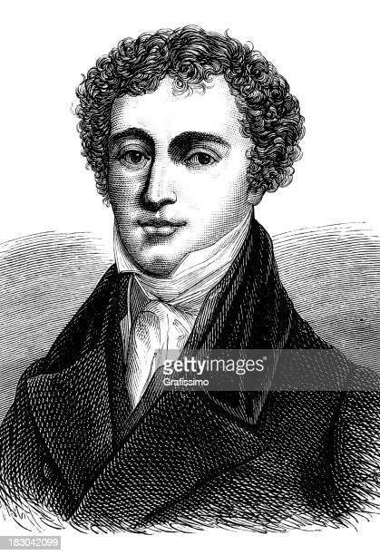 engraving of english scientist michael faraday from 1870 - michael faraday stock illustrations, clip art, cartoons, & icons