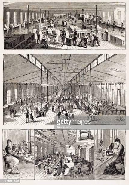 ilustraciones, imágenes clip art, dibujos animados e iconos de stock de grabado de fábrica de fabricación textura con máquinas de nueva york - revolucion industrial