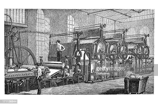 engraving of factory producing paper 1850 - industrial revolution stock illustrations