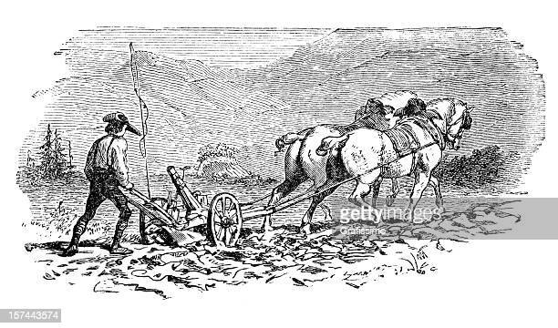 engraving of farmer plowing a field with two horses - 18th century stock illustrations