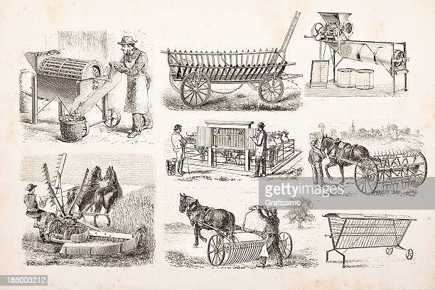 engraving of farmer plowing and mowing a field - harrow agricultural equipment stock illustrations, clip art, cartoons, & icons