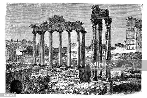 Gravação do fórum Romanum Roma Itália 1868