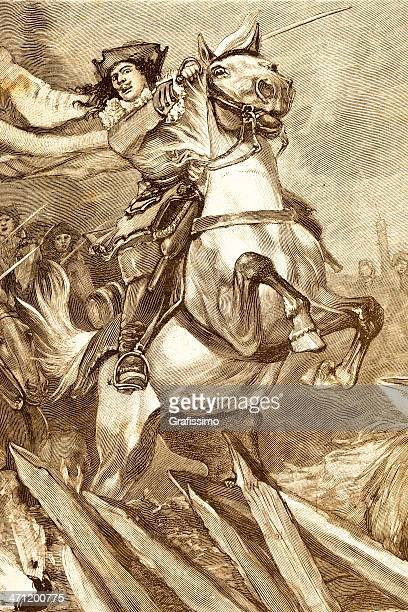 engraving of french musketeer riding white horse 1881 - musketeer stock illustrations, clip art, cartoons, & icons