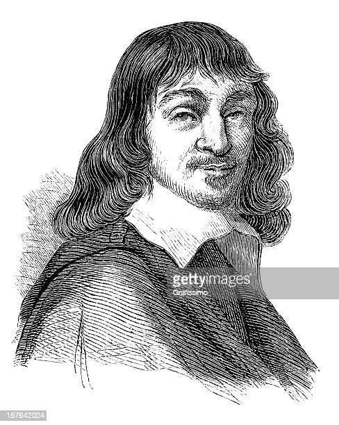 engraving of french philosopher rene descartes from 1870 - physicist stock illustrations, clip art, cartoons, & icons