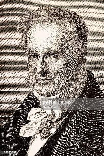 Grabado de alemán explorer Alexander von Humboldt 1882
