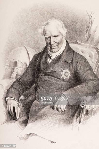 Grabado de alemán explorer Alexander von Humboldt de 1850