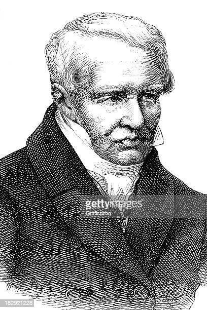 Grabado de alemán explorer Alexander von Humboldt en 1870