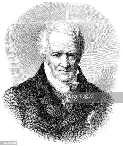 engraving of german explorer alexander von humboldt from 1875 - linguistics stock illustrations