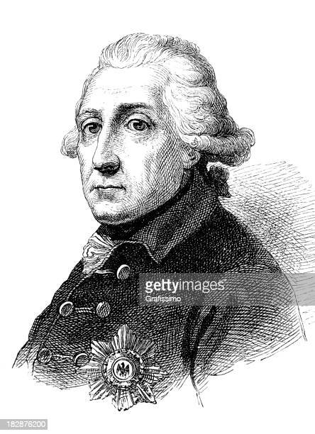 Engraving of german king Frederick the Great from 1870