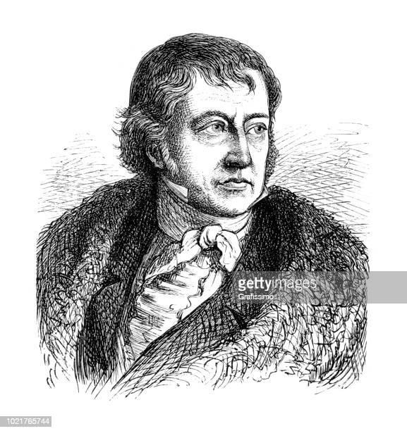 Engraving of german philosopher Georg Wilhelm Friedrich Hegel from 1875