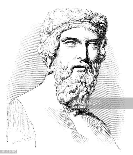 engraving of greek philosopher plato or platon 1842 - actor stock illustrations
