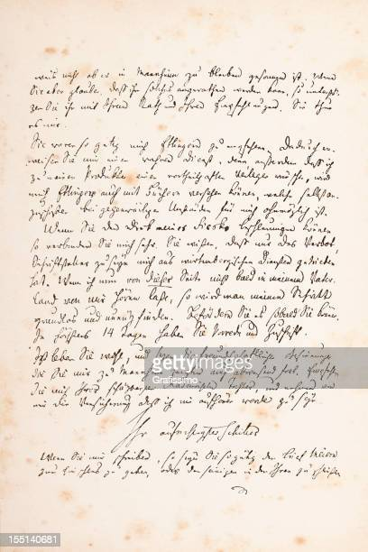 Engraving of handwritten letter from Friedrich Schiller 1782
