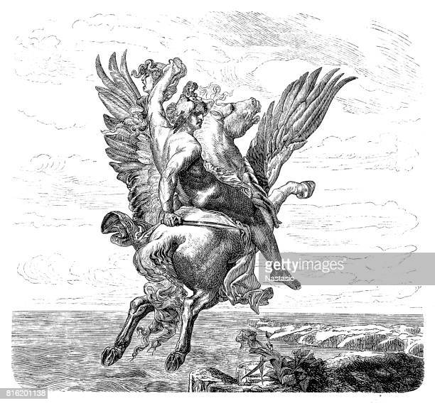 engraving of hero perseus riding pegasus - pegasus stock illustrations, clip art, cartoons, & icons