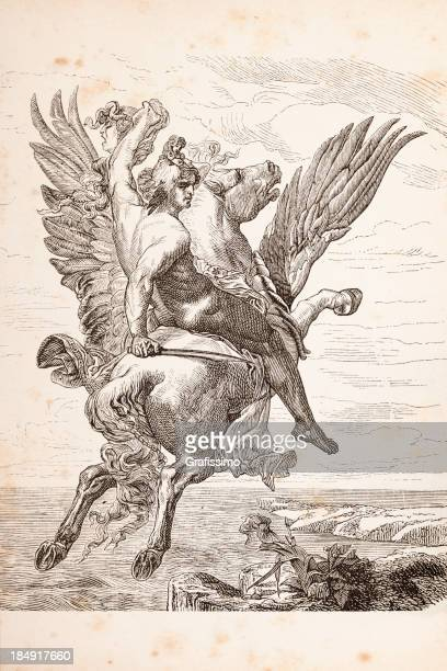engraving of heroe perseus riding pegasus 1879 - mythological character stock illustrations, clip art, cartoons, & icons