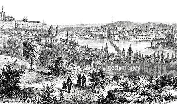 engraving of historic downtown prague czech republic from 1870 - prague stock illustrations, clip art, cartoons, & icons