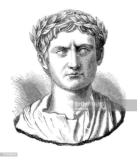engraving of julius caesar or augustus casus octavianus - emperor stock illustrations, clip art, cartoons, & icons