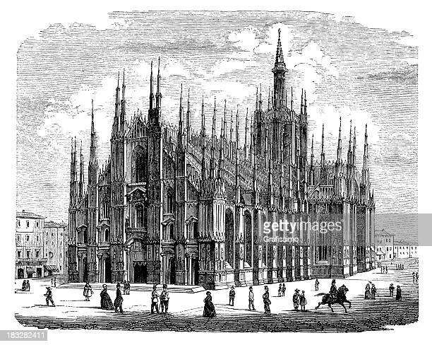 engraving of milan cathedral in italy from 1870 - milan stock illustrations, clip art, cartoons, & icons