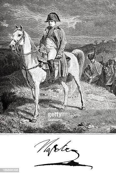 illustrations, cliparts, dessins animés et icônes de gravure de napoléon bonaparte sur son cheval maréngo en 1882 - guerres napoléoniennes