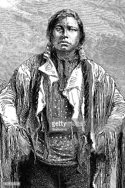 ilustraciones, imágenes clip art, dibujos animados e iconos de stock de grabado de los aborígenes jefe 1868 - indios americanos sioux