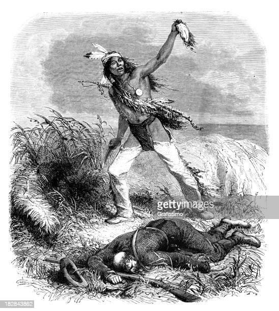 ilustraciones, imágenes clip art, dibujos animados e iconos de stock de grabado de los aborígenes jefe de corte del cuero cabelludo 1868 - indios americanos sioux