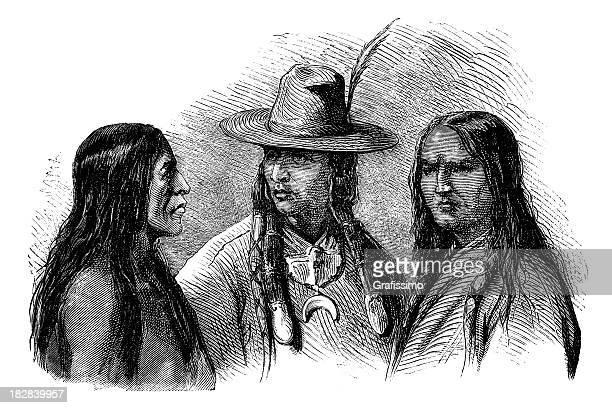 ilustraciones, imágenes clip art, dibujos animados e iconos de stock de grabado de los aborígenes chiefs 1868 - indios americanos sioux