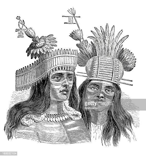 engraving of native american from california 1870 - cherokee culture stock illustrations, clip art, cartoons, & icons
