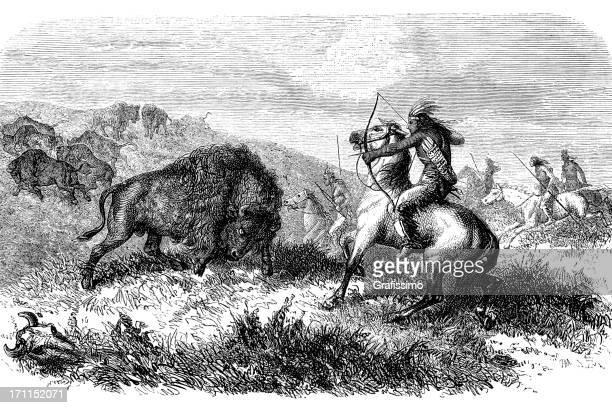 ilustraciones, imágenes clip art, dibujos animados e iconos de stock de grabado de los aborígenes caza de buffalo 1868 - indios americanos sioux
