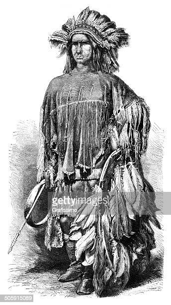 engraving of native american lipan apache from 1870 - indian costume stock illustrations, clip art, cartoons, & icons